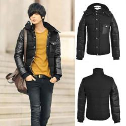 Men's Contrast Sleeve Cotton Paded Balck Hooded Winter Coat