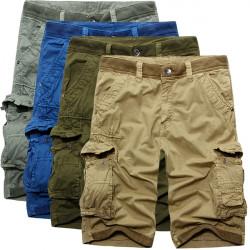 Mens Cotton Fashion Casual Loose Multi-pockets Cargo Shorts