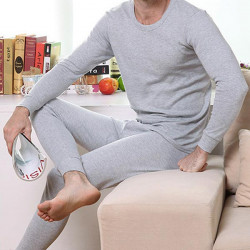 Mens Cotton Long Johns Round Collar Thermal Underwear Pants Suit