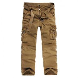 Herren Baumwoll Multi Pocket Hose beiläufige gerade Bein Überhose