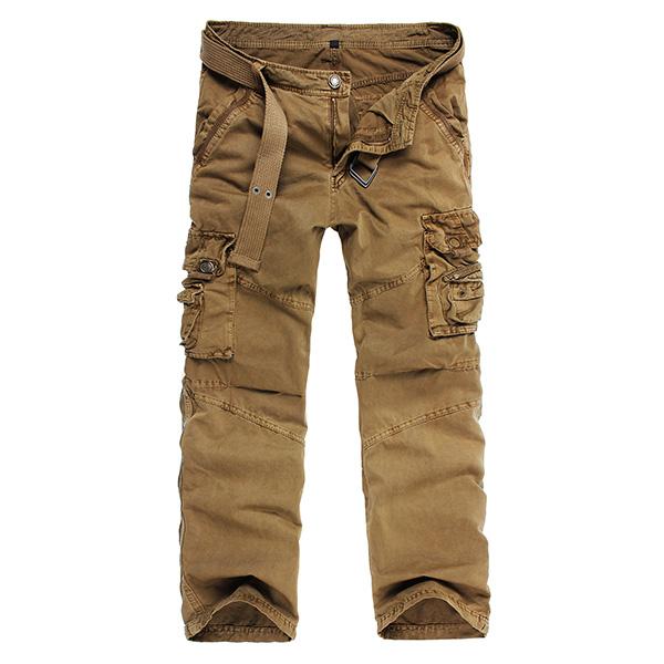 Män Bomull Multi Pocket Cargo Byxor Casual Straight Leg Overpants Herrkläder
