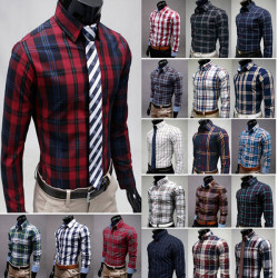 Mens Cotton Plaid Long-sleeved Shirt 19 Color