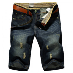 Män Denim Raka Worn Out Tvätta Blue Short Jeans