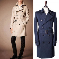 Mens Double-button Elegant Slim Fit Windproof Trench Long Coats