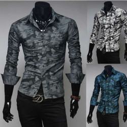 Män Mode Camouflage Shirt Casual Slim Bomull Långärmad Tröja