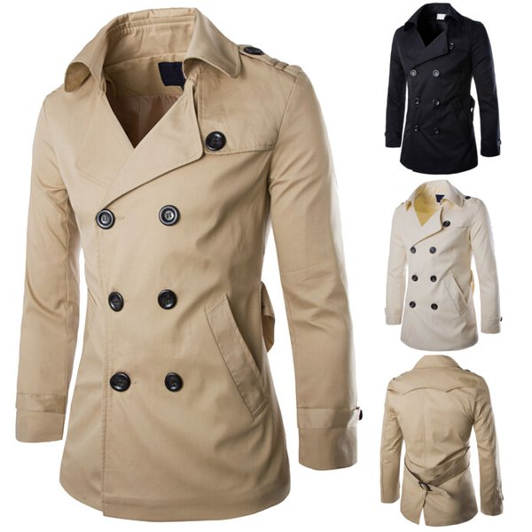 Mens Fashion Casual Coat Double-breasted England Style Windbreaker Men's Clothing
