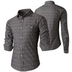 Mens Fashion Casual Leisure Slim Fit Plaid Long-Sleeved Shirts