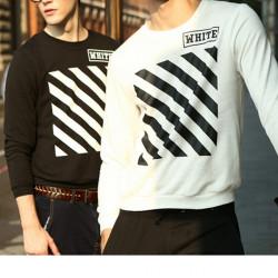 Mens beiläufige Art und Weise Druck Stripes Baumwolle Langarm Sweatshirts