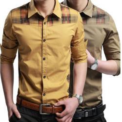 Mens Mode Casual Slim Fit Langærmet Plaid Stitching Dress Skjorte