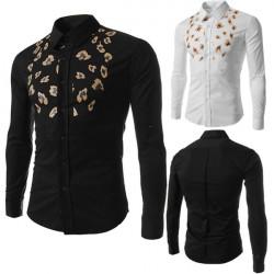 Mens Fashion Casual Slim Personalized Printing Long-sleeved Shirt Tops