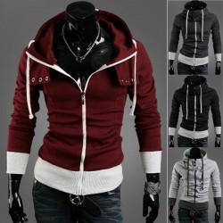 Män Mode Inspirerad Stava Färg Hooded Cardigan Kappa
