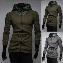 Herrenmode Jacke dünne beiläufige Reißverschluss Revers Sweatshirt Hoodies
