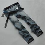 Herrenmode Große Faded Blau Baumwolle Schnitt Straight Leg Jeans Hosen Herrenbekleidung
