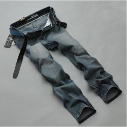 Herrenmode Große Faded Blau Baumwolle Schnitt Straight Leg Jeans Hosen