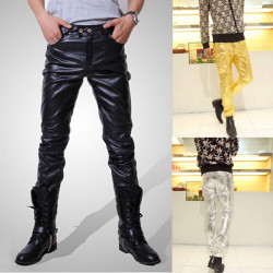 Mens Fashion PU Leather Cool Skinny Pants