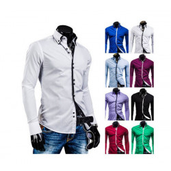 Mens Fashion  Shirts Slim Fit Long Sleeve Casual Dress Tops