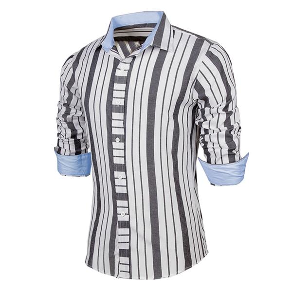 Män Mode Slim Fit Bars Randig Långärmad Lapel Casual Skjorta Herrkläder