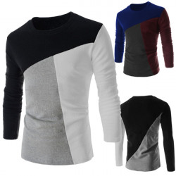 Mens Fashion Slim Fit Stitching Long Sleeve T-shirt