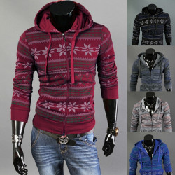 Mens Fashion Slim Fit Zipper Langarm drucken Hoodied Mantel Oberbekleidung