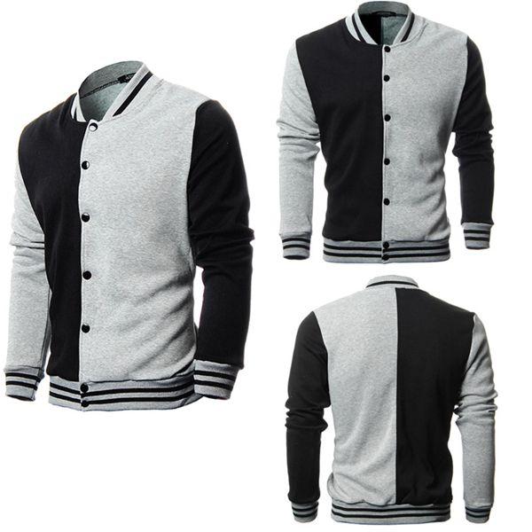 Mens Fashion Splicing Coat Casual Collar Cardigan Sweatshirt Men's Clothing