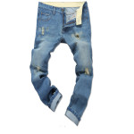 Män Mode Tvättade Hole Demin Byxor Slim Fit Straight Jeans Herrkläder