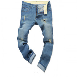 Mens Fashion Washed Hole Demin Pants Slim Fit Straight Jeans