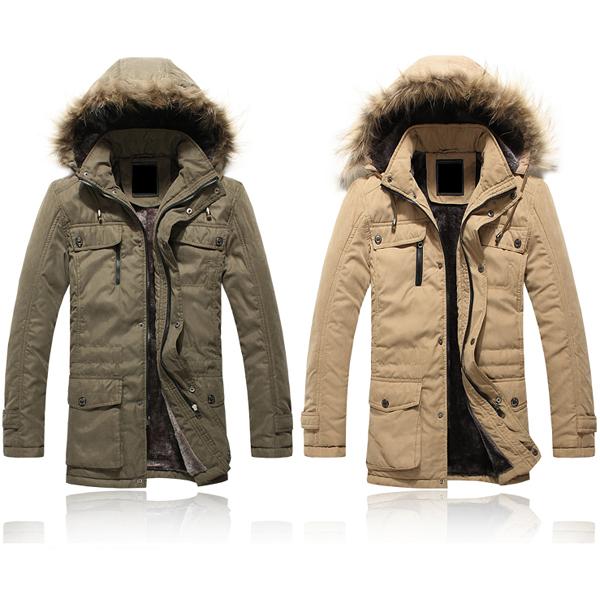 Herren mit 4 Taschen Langjacke mit Kapuze Outwear Herrenbekleidung