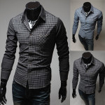 Mens Grid Stitching Shirt Fashion Color Casual Long-sleeve Shirt Men's Clothing