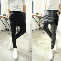 Mens Harem Pants PU Joint Pocket Sports Slim Fit Track Pants