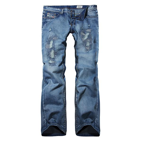 Herren hochgradige Straight Leg Stern liebt Löcher gewaschene weiße Blue Jeans Herrenbekleidung