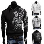Herren Kapuzen Tattoo Mäntel dünne beiläufige stilvolle Printed Fleece Sweatshirt Herrenbekleidung