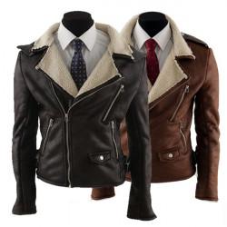 Män Jacka Enkel Slim Berber Fleece Fur Moto Kappa