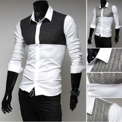 Mens Knitting Stitching Shirts Fashion Casual Slim Shirts