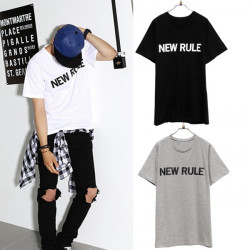 Mens Korean Casual Simple Loose Letter Short Sleeve T-shirt