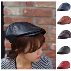 för Män Läder Bonnet Newsboy Beret Cabbie Golf Hat Gentleman Cap