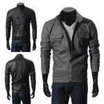 Herren Leder beiläufige Stehkragen Taschen Jacken Herrenbekleidung