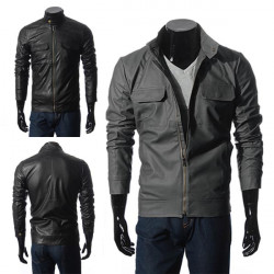 Mens Leather Casual Stand Collar Pockets Jackets