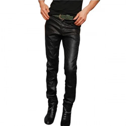 Mens Leather Jeans Fashion Mens PU Contrast Slim Fit Black Jeans