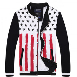 Mens Leisure Stars Color Bar Jacket Sport Sweatshirts Baseball Uniform