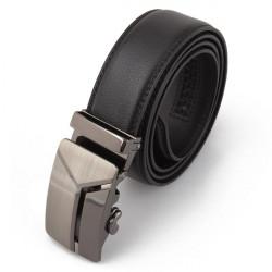 Männer lange Leder Auto Buckle Schwarz Belts