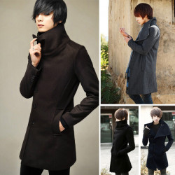 Mens Long Overcoat Golilla Slim Single-Breasted Worsted Wine Coat