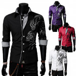 Mens Long Sleeve Lapel Collar Dragon Tattoo Casual Stylish Shirts Men's Clothing