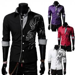 Mens Long Sleeve Lapel Collar Dragon Tattoo Casual Stylish Shirts