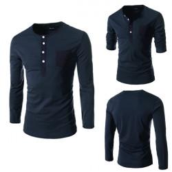 Herren Langarm Multi Taste Fitting Slim Fit T Shirt