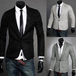 Mens Long Sleeve V-Neck Single Button Blazer Suit Business Jacket Men's Clothing