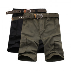 Mens Loose Cotton Elastic Waist Solid Color Cargo Shorts