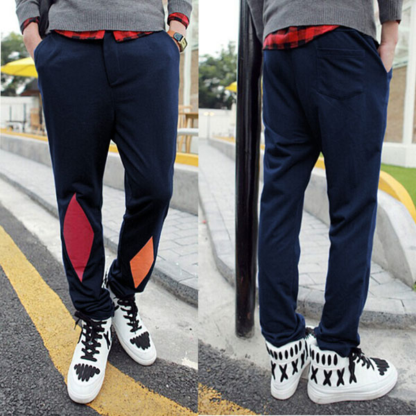 Mens Loose Fit Sports Knit Contrast Color Pants Men's Clothing
