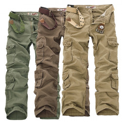 Mens Military Outdoor Loose Large Size Cotton Multi-pockets Cargo Pants