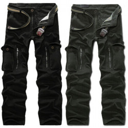 Mens Multi Pockets Casual Pants Fashion Design Cotton Cargo Pants