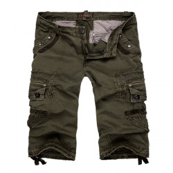 Mens Multi Pockets Cotton Large Size Shorts Casual Cargo Pants